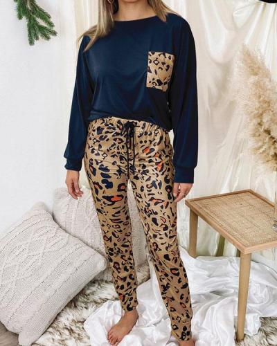 Leopard Print Casual Cotton Loungewear Women's Two Piece Sets