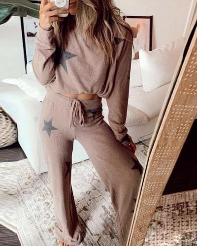 Casual Star Print Wide Leg Pants Suits&Loungewear