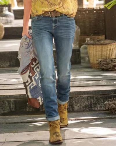Women Blue Denim Casual Plain Pants
