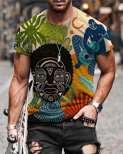 Printed Round Neck Short Sleeve Street Trend T-shirt