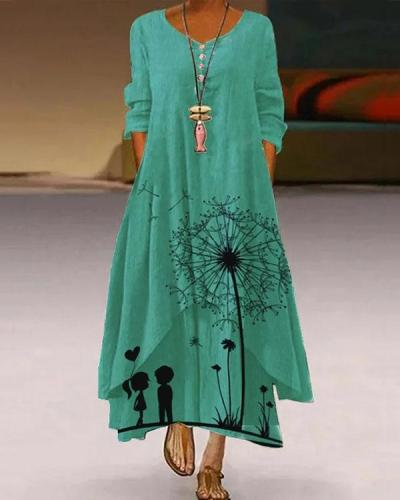 Women's Long Sleeve Dandelion A-Line Floral Maxi Dress