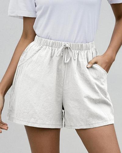 Fashion Casual Solid Frenulum Loose Mid Waist Wide Leg Bottoms