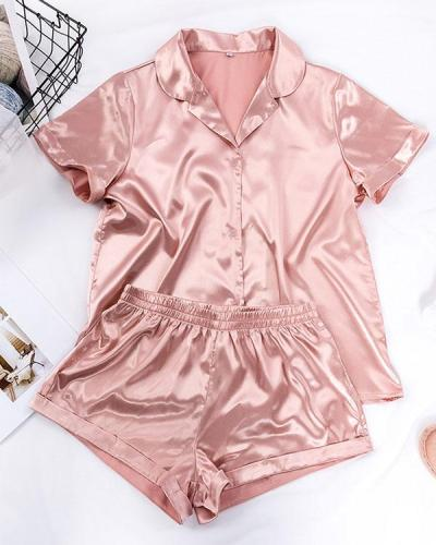 Solid Satin Casual Comfy Shorts Set Loungewear