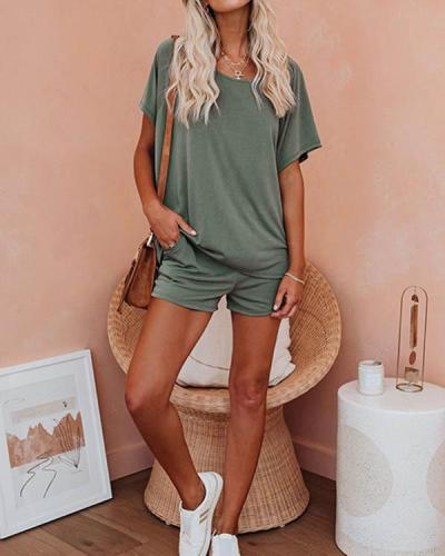 Women Casual Solid Short Sleeves Shorts Set Loungewear