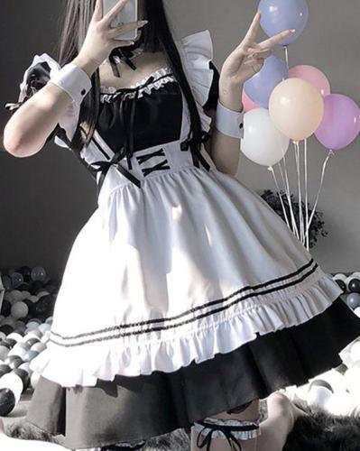 Sexy Maid Cosplay Costume Women Fetish Lingerie Schoolgirl Babydoll Dress