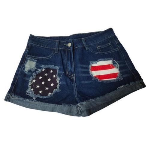 American Flag Ripped Denim Shorts