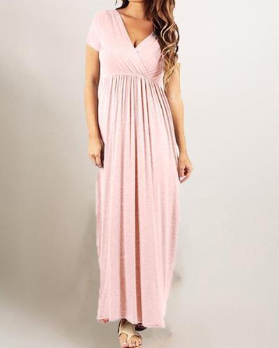 Pregnant Women Maternity High Waist V-Neck Maxi Dress