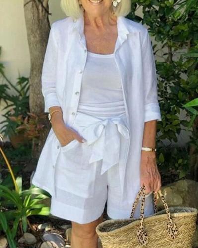 Simple Long Sleeve Three-piece Women's Suit