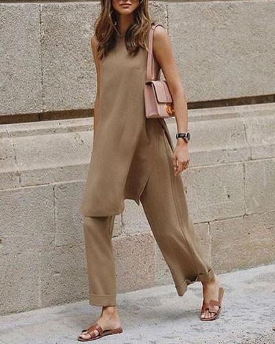 Sleeveless Solid Commuting Wide Leg Pants Set Women's Suits