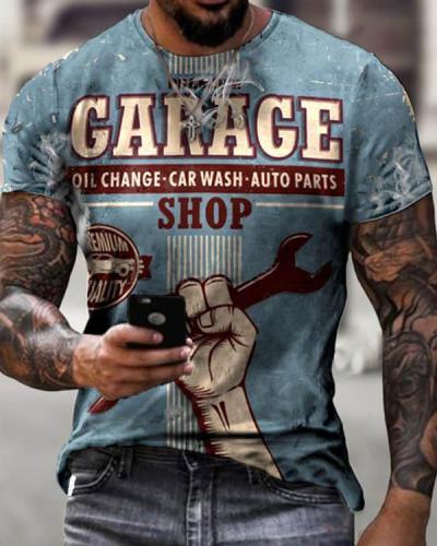 Retro Service Area Car Repair Print T-shirt