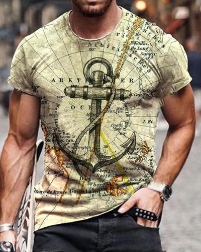 Mens Crew Neck Retro Map Anchor Short Sleeve Tops T-shirts