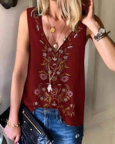 Ladies Summer Folk Print Chiffon Vest