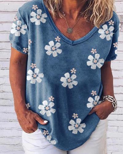 Small White Flower Print Wide Collar V-neck Loose Short Sleeves