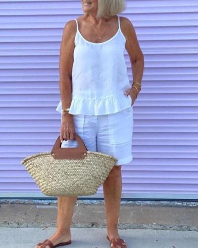 Pure Color Ruffle Hem Linen Cotton Camis Shorts Set