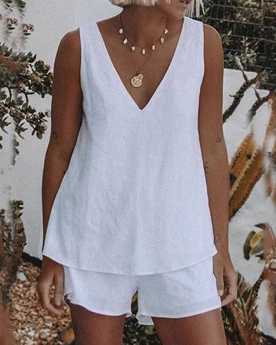 Plus Size White Casual Linen Cotton V Neck Shorts Set
