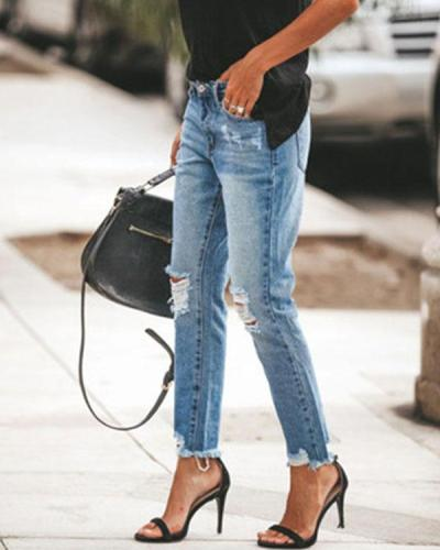 Fashion Ripped Slim Fit Washed Jeans