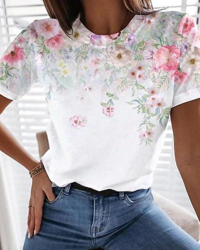 Turtleneck Flower Print Simple T-shirt
