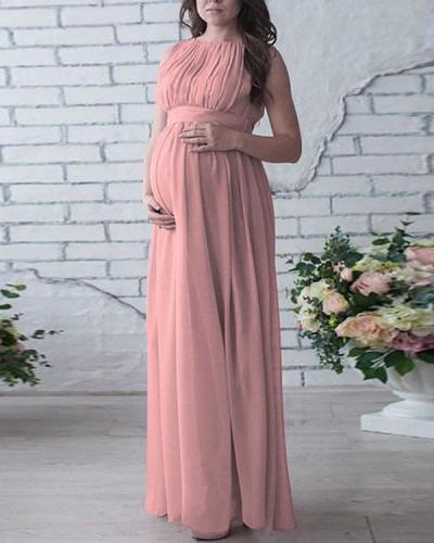 Maternity Sleeveless Pleated Maxi Chiffon Dress