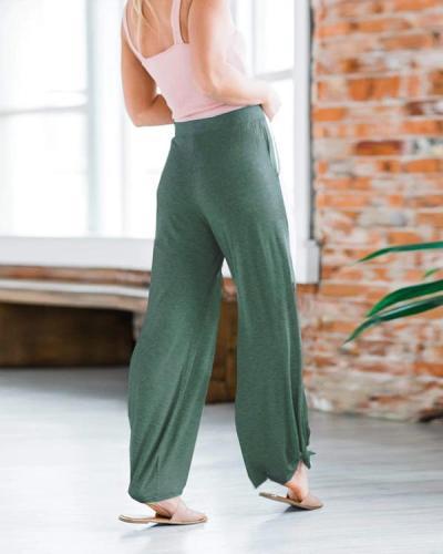 Solid Pockets High Slit Harem Pants
