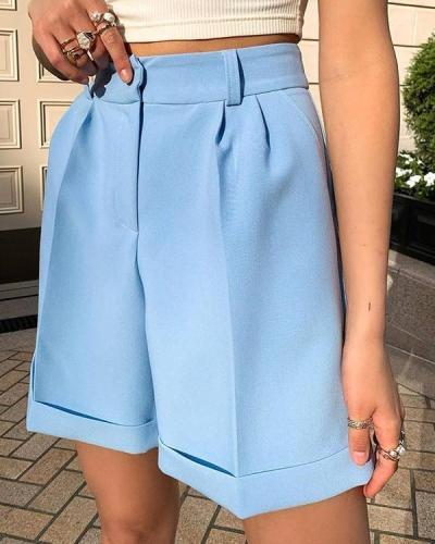 Solid Color Button Suit Shorts