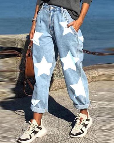 Star Print Loose Jeans