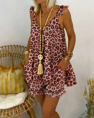 Plus Size Cotton Blend Leopard Casual Shorts Set