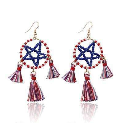 Casual Tassel Gemstone Dangle Earrings