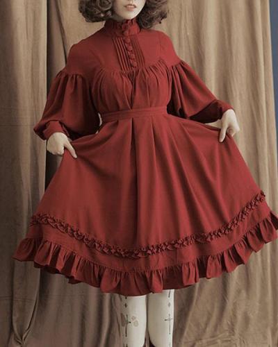 Plus Size Retro Cotton Lolita Dress Long Sleeve Elegant Ruffle Dress
