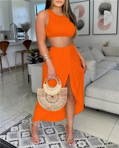 Plain Crop Top & Slit Tropical Plain Skirt Set