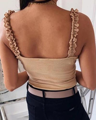 Women Ribbed Knit Tank Crop Top