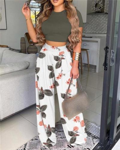 Basic Plain Crop Top& Floral Print Wide Leg Pants Set