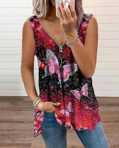 Women's Zipper Print Vest Tops