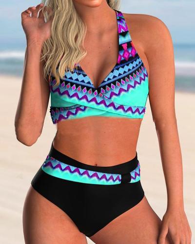Geometric High Waist Print Halter Neckline V-neck Swimsuits