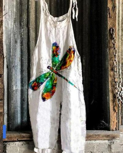 Women Lace Up Strap Dragonfly Print Linen Jumpsuits