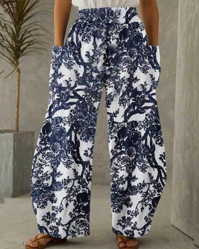 Women Cotton Linen Pocket Printing Vintage Pants