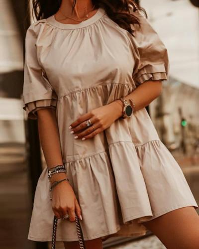 Solid Color Round Neck Puff Sleeve Dress