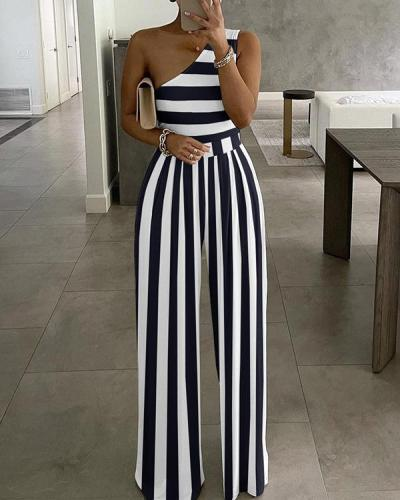 Elegant Comfy Asymmetric Pleated Stripe Wide Leg Jumpsuit