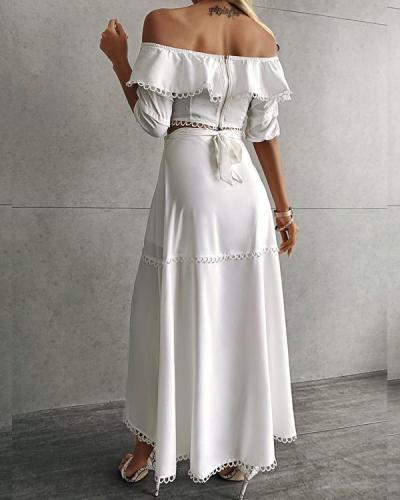 Off Shoulder Scallop Trim Top & Slit Skirt Set