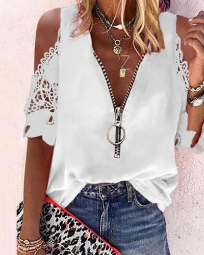 Lace Off Shoulder Pure Color Half Sleeves Casual Blouses