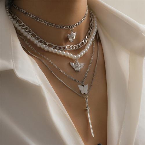 5PCS Butterfly & Angel & Katana Pendant Layered Necklace