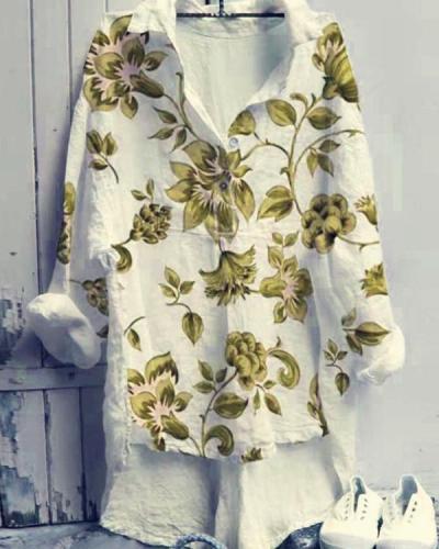 Lapel Printed Long-sleeved Shirt