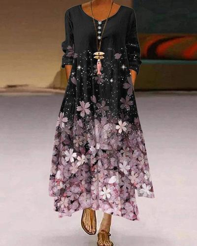 Casual Autumn Button Multiflora Print Irregular A-line Maxi Dresses
