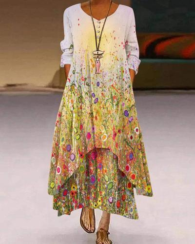 Spring Autumn Floral 3/4 Sleeve Irregular Maxi Dresses