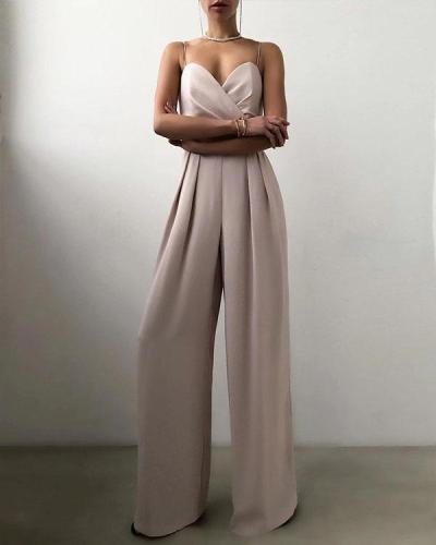 Women's Party Elegant Spaghetti Strap Jumpsuit Solid Color Layered Patchwork Wide Leg Overall