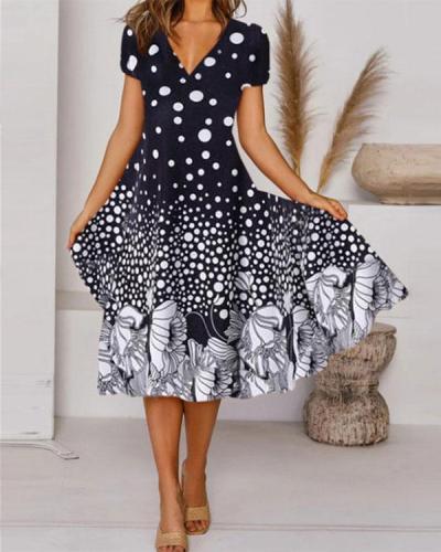 Elegant Floral Dot Print Tunic V-Neckline Midi A-line Dress