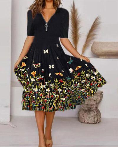 Elegant Floral Tunic Zipper V-Neckline Midi A-line Dress