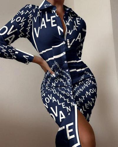 Sexy Letter Print Long-sleeved Button Slit Bodycon Dress