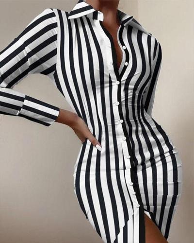 Black White Stripe Fashion Long-sleeved Button Slit Bodycon Dress