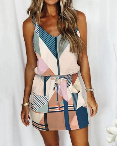Casual Lace-up Striped Drawstring Dress