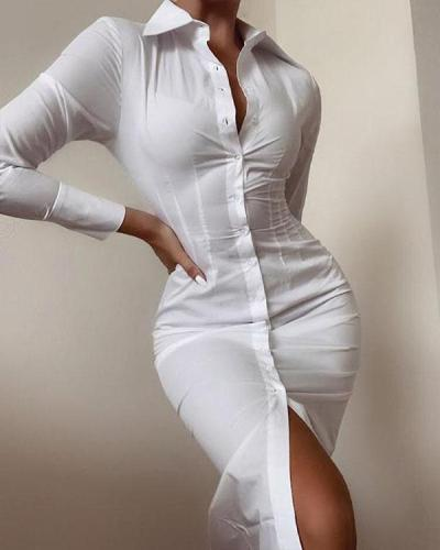 White Pure Color Fashion Long-sleeved Button Slit Bodycon Dress